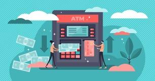 Illustration de vecteur de distributeur automatique de billets d'atmosphère Concept minuscule plat de retrait d'argent de personn illustration stock