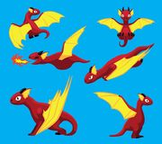 Illustration de vecteur de Dragon Flying Poses Cute Cartoon Image libre de droits