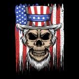 Illustration de vecteur de drapeau des Etats-Unis d'Oncle Sam de crâne illustration stock