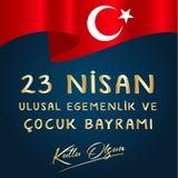Illustration de vecteur du bayrami 23 de cocuk nisan, traduction : La souverainet? nationale du 23 avril turc et le jour des enfa illustration libre de droits