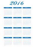 Illustration de vecteur du calendrier 2016 de nouvelle année Image stock