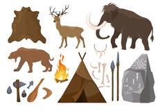 Illustration de vecteur du grand ensemble d'éléments des attributs d'âge de pierre Éléments primitifs de période glaciaire Âge de illustration libre de droits