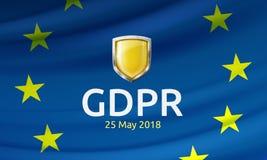 Illustration de vecteur du label réglementaire et du bouclier de protection des données générale sur onduler le drapeau d'UE illustration de vecteur