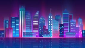 Illustration de vecteur du paysage urbain futuriste de megapolis Ville de nuit avec les lampes au néon rougeoyantes Ville futuris illustration stock