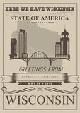 Illustration de vecteur du Wisconsin avec la silhouette de ville Pays de laiterie des Amériques Carte postale de voyage illustration stock