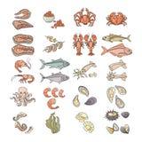 Illustration de vecteur Ensemble coloré d'icône de fruits de mer d'isolement sur le blanc Image libre de droits