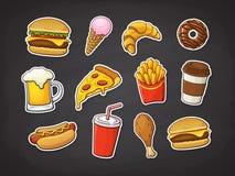 Illustration de vecteur Ensemble d'aliments de préparation rapide Pizza, hamburger, hot-dog, pommes frites, beignet, bière, crois illustration libre de droits