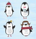Illustration de vecteur Ensemble de quatre pingouins tirés par la main de croquis différent mignon Images libres de droits