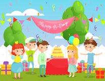 Illustration de vecteur de fête d'anniversaire d'enfants dans la cour avec beaucoup d'enfants heureux dans les vêtements et la dé illustration de vecteur