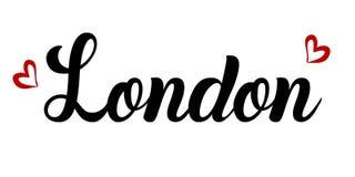 Illustration de vecteur ` Fait main de Londres de ` de lettrage L'inscription est noire sur un fond blanc Photos stock