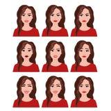 Illustration de vecteur de femme avec différentes expressions du visage réglées Les émotions ont placé sur le fond blanc dans le  illustration stock