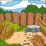 Illustration de vecteur, fond (arrière-cour et barrière) illustration libre de droits