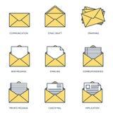Illustration de vecteur Fond plat avec l'enveloppe Images libres de droits
