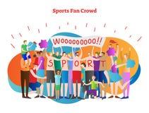 Illustration de vecteur de foule de fan de sports Équipe de soutiens de majorette dans le championnat Personnes de torse nu avec  illustration stock