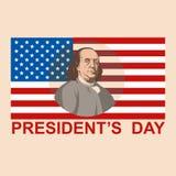Illustration de vecteur de Franklin de drapeau de jour de président plate illustration de vecteur