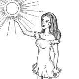 Illustration de vecteur de gravure de fille et de soleil Photos stock