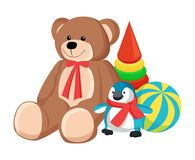 Illustration de vecteur de jouets de Teddy Bear et de pingouin Images libres de droits