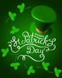 Illustration de vecteur de jour du ` s de St Patrick, chapeau des vacances 3d avec le fea Photo stock