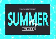 Illustration de vecteur de l'eau bleue brillante Paradis d'été Portez-moi à la plage L'illustration peut être employée pour le we Images stock