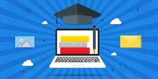 Illustration de vecteur de la formation, formation en ligne, leçons en ligne, concept d'éducation Livres sur le fond bleu, rétro  illustration libre de droits