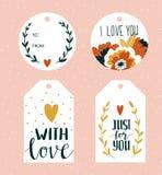 Illustration de vecteur La salutation de jour de valentines étiquette des calibres avec le lettrage d'amour, les coeurs, les fleu illustration libre de droits