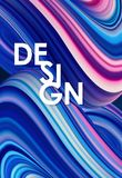 Illustration de vecteur : Le néon bleu a coloré le fond liquide onduleux tordu abstrait conception à la mode d'affiche Photos libres de droits