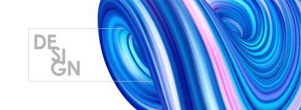 Illustration de vecteur : le néon 3D bleu a coloré la forme de fluide tordue par résumé sur le fond blanc Conception à la mode de Photo stock