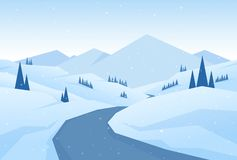 Illustration de vecteur : Les montagnes neigeuses de Noël d'hiver aménagent en parc avec la route, les pins et les collines illustration de vecteur