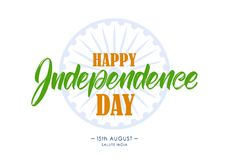 Illustration de vecteur : Lettrage de main de Jour de la Déclaration d'Indépendance heureux 15ème d'August Salute India Illustration de Vecteur