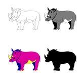 Illustration de vecteur Ligne silhouette, couleur noire et blanche de rhinocéros d'image Photo stock