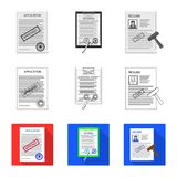 Illustration de vecteur de logo de forme et de document Ensemble de symbole boursier de forme et de marque pour le Web illustration stock