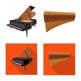 Illustration de vecteur de logo de musique et d'air Ensemble d'illustration courante de musique et de vecteur d'outil Illustration Stock