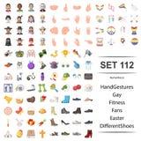 Illustration de vecteur de main, gestes, homosexuel, forme physique, ensemble d'icône de chaussures de Pâques de fan illustration de vecteur