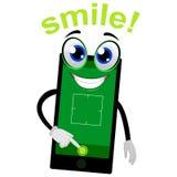 Illustration de vecteur de mascotte de téléphone portable poussant le bouton d'appareil-photo illustration stock