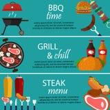 Illustration de vecteur de nourriture de bannières de gril de barbecue Photos libres de droits