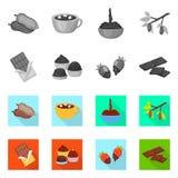 Illustration de vecteur de nourriture et de symbole délicieux Placez de la nourriture et du symbole boursier brun pour le Web illustration libre de droits