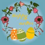 Illustration de vecteur de Pâques avec des oeufs, des fleurs roses et des lapins Excellent pour la conception des cartes postales illustration de vecteur