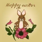 Illustration de vecteur de Pâques avec des oeufs, des fleurs roses et des lapins Excellent pour la conception des cartes postales illustration libre de droits