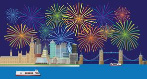 Illustration de vecteur de panorama de feux d'artifice d'horizon de Londres illustration stock