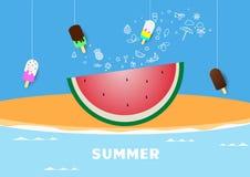 Illustration de vecteur de pastèque de bannière d'affiche d'été de ressort, lettrage et conception rose pour la carte d'affiche, images stock