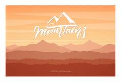 Illustration de vecteur : Paysage de coucher du soleil de montagnes d'automne illustration de vecteur