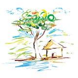 Illustration de vecteur de peinture d'art d'arbre de maison de nature illustration stock