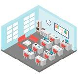 Illustration de vecteur de pièce isométrique de bureau Inclut la table, chaises de bureau, la machine de café, ordinateurs portab illustration libre de droits