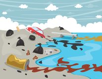 Illustration de vecteur de pollution de l'eau illustration stock