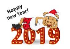 Illustration de vecteur de porc étendu dans la couleur de la Jaune-terre sur le nombre Caractère de nouvelle année dans Red Hat e illustration libre de droits