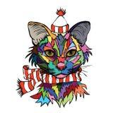 Illustration de vecteur Portrait d'art de bruit d'un chat dans un chapeau chaud et Photos libres de droits