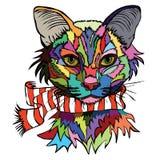 Illustration de vecteur Portrait d'art de bruit d'un chat dans une écharpe chaude Photographie stock