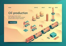 Illustration de vecteur de production de pétrole isométrique illustration stock