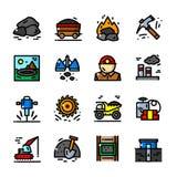Illustration de vecteur réglée par icônes de charbonnage illustration de vecteur