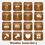 Illustration de vecteur réglée par icônes en bois d'application Image stock